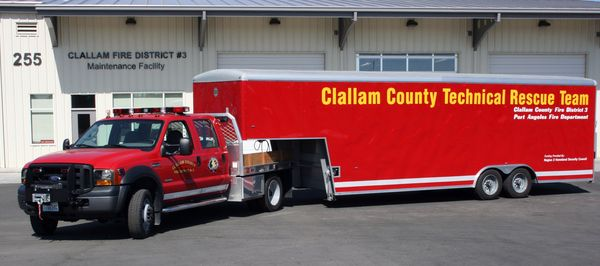 Large trailer used to store and transport technical rescue equipment for prompt deployment